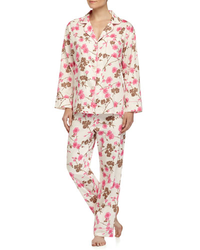 Cherry Blossom-Print Classic Pajama Set, Pink Pattern