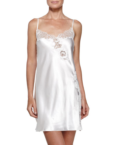 Lace-Trim Charmeuse Chemise, Pearl