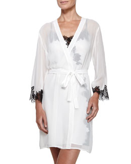 Georgette Short Robe with Belt, Black/Cream