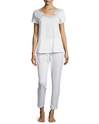 Savona Short-Sleeve Pajama Set, White