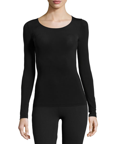 Wolford Buenos Aires Long-Sleeve Pullover Top, Black