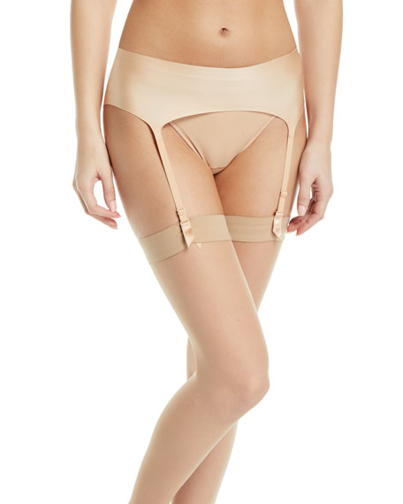 Wolford Satin Garter Belt & Filigra Lace-Trim Thigh-High