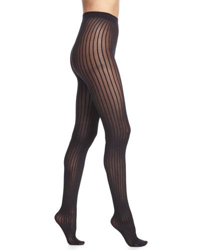 Stripe-Pattern Sheer Tights