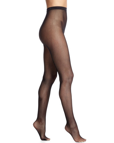 Tiny-Square Net Tights, Black
