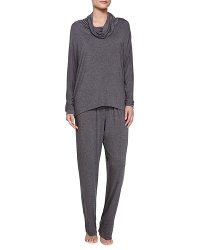 Liquid Jersey Pajama Set, Dark Gray