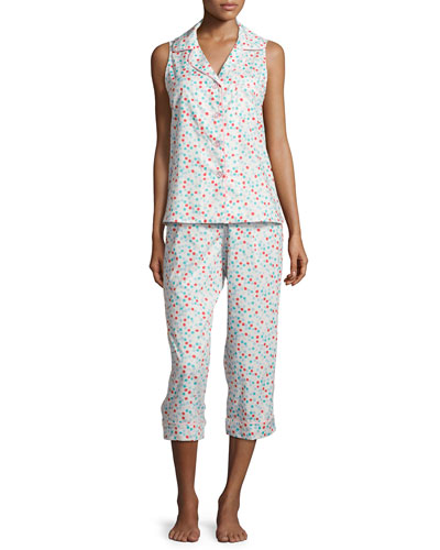 Dot Theory Sleeveless Cropped Pajama Set, Coral