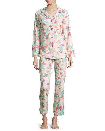 Le Jardin Floral Long-Sleeve Pajama Set, Pink