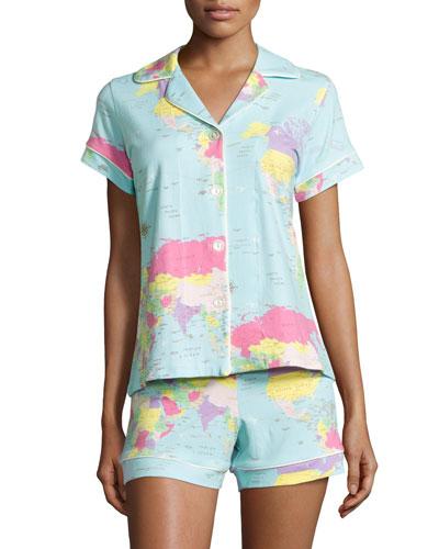 Around the World Shorty Pajama Set, Aqua Print