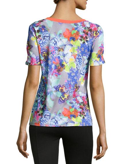 Farfalla Short-Sleeve Pajama Top, Gray Multi