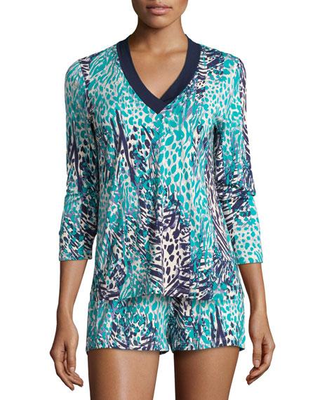 Sapna Printed Pajama Top, Navy Blue