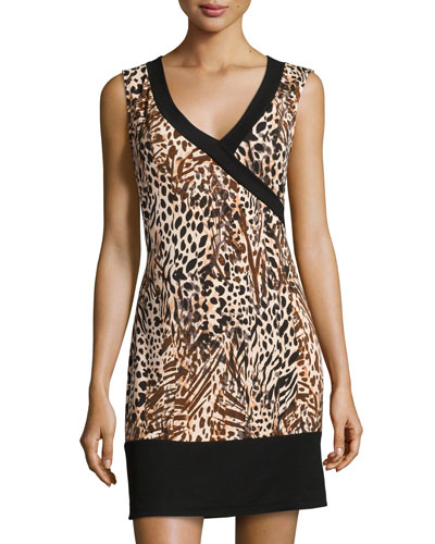 Sapna Sleeveless Dress/Nightgown, Brown Print