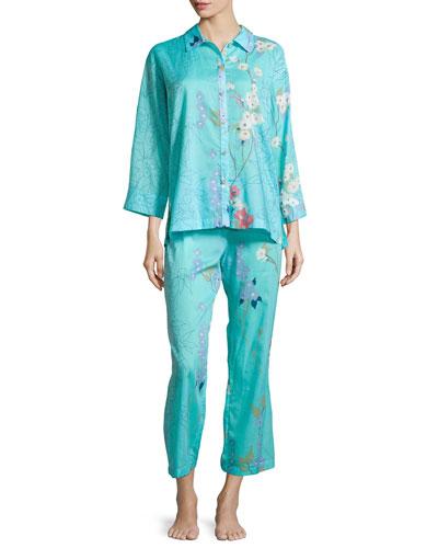 Sakura Two-Piece Floral-Print Pajama Set, Light Blue