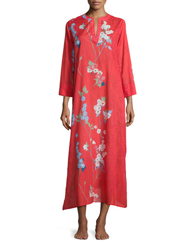 Sakura Floral-Print Caftan, Red/Orange
