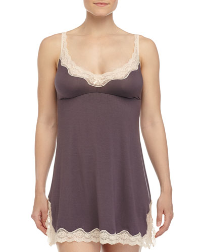 Lady Godiva Lace-Trimmed Chemise, Pebble