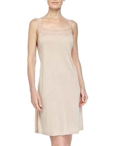 Lace-Trimmed Chemise, Beige