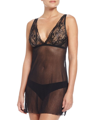 Madeleine Sheer Lace Babydoll, Black