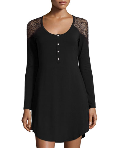 Orsay Button-Down Nightshirt, Black