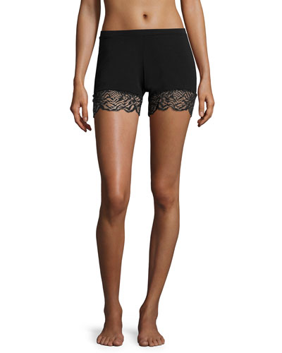 Orsay Lace-Trim Boxer Shorts, Black