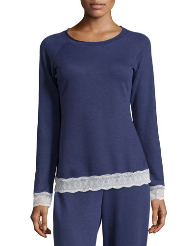 Cortina Lace-Trimmed Lounge Top
