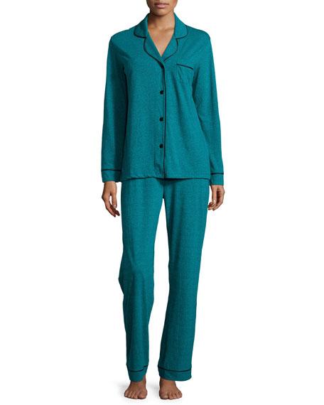Cosabella Bella Textured Jersey Pajama Set, Blue Curacao
