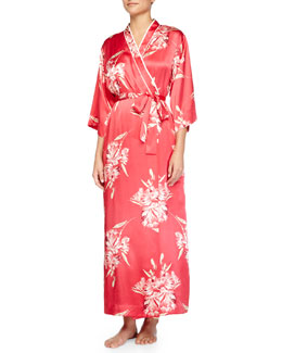 Spanish Lilly Floral-Print Long Robe, Pink