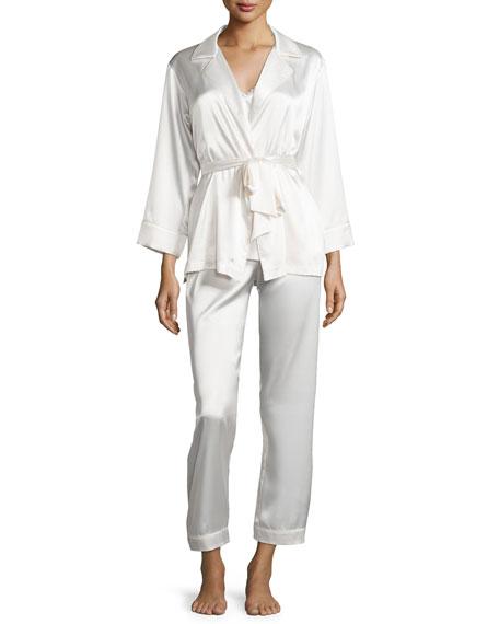 Oscar de la Renta Charmeuse 3-Piece Pajama Set,