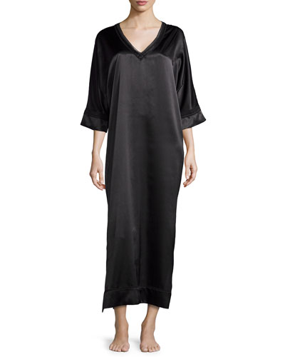 V-Neck Charmeuse Caftan, Black