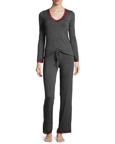 In the Mood Long-Sleeve Pajama Set, Charcoal/Raisin