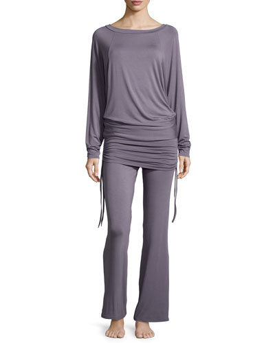 Lounge with Me Batwing Top and Wide-Leg Pant PJ Set, Gray Lavender