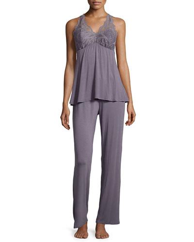 Belle Epoque Lace-Inset Pajama Set, Gray Lavender