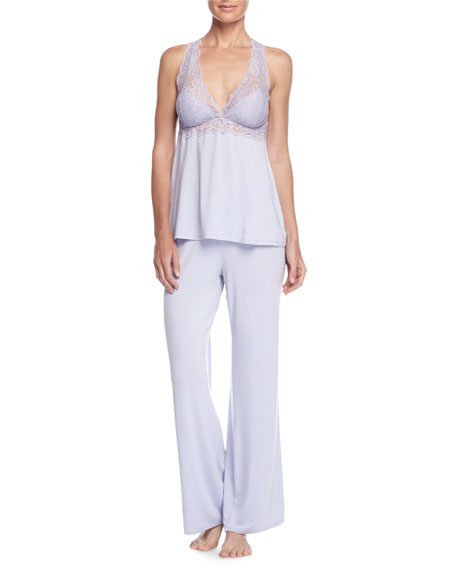 Whispers of Love Lace-Inset Pajama Set, Purple Heather