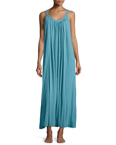 Long Pima Cotton Nightgown, Sky Blue