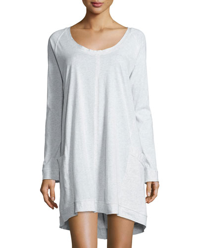 Scoop-Neck Long-Sleeve Sleepshirt, Heather Gray