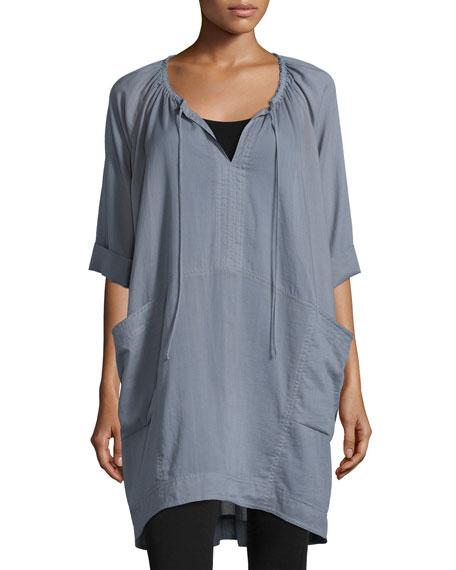 Donna Karan Short-Sleeve Batiste Sleepshirt, Gryst