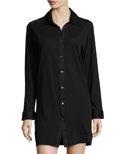 Long-Sleeve Button-Front Sleepshirt, Black