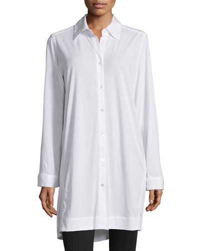 Long-Sleeve Button-Front Sleepshirt, White