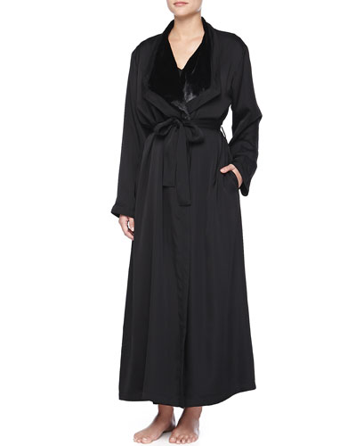 Laundered Satin Plush-Lined Robe