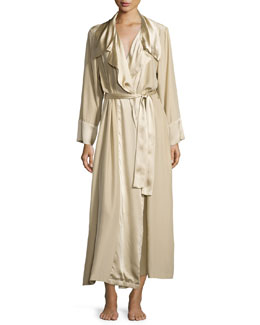 Glamour Silky Long-Sleeve Wrap-Front Robe, Champagne