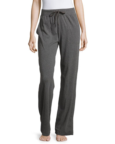 Straight-Leg Drawstring-Waist Pajama Pants, Dark Gray