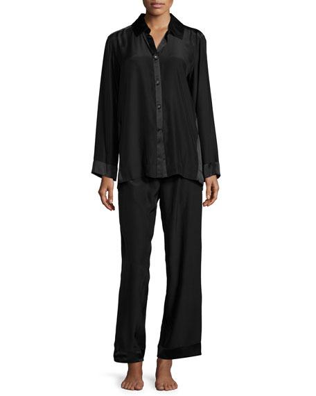 Donna Karan Glamour Charmeuse Pajama Set, Black