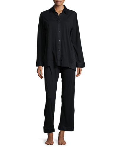 Pima Cotton Pajama Set, Black