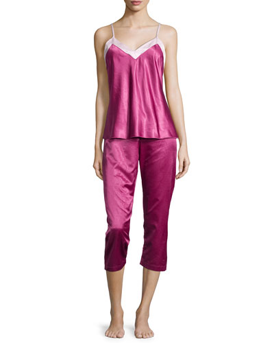 Casarina Contrast-Trim Capri Pajama Set, Raspberry/Pale Pink