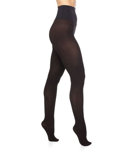 Ribbed Fine-Line Opaque Tights, Black