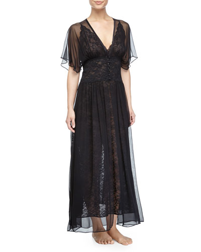 Stretch-Lace Long Robe, Kohl