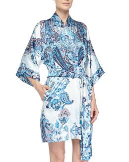 Printed Silk Short Robe, Blue