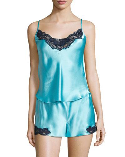 Candy Lace-Trim Two-Piece Pajama Set, Light Blue