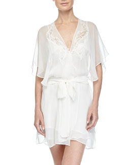 Diva Lace-Applique Short Robe, Pearl
