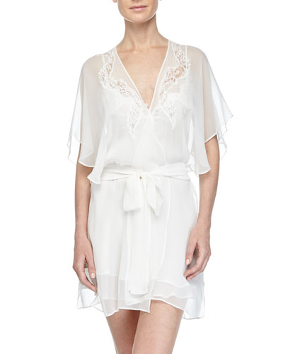 Diva Lace-Applique Short Robe, Pearl