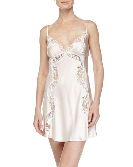 Christine Designs Ever After Lace-Inset Chemise, Blush