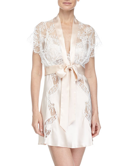 Christine Designs Ever After Lace-Trimmed Bolero Robe, Blush